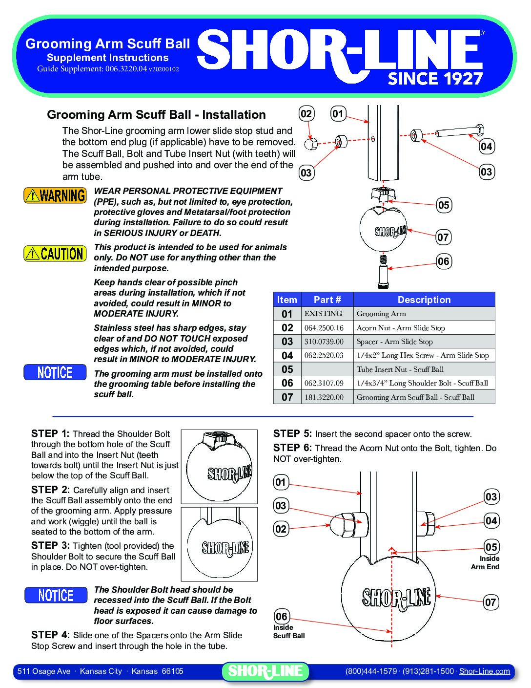 006.3220.04 Grooming Table Arm Scuff Ball Installation Sheet 20191230v01